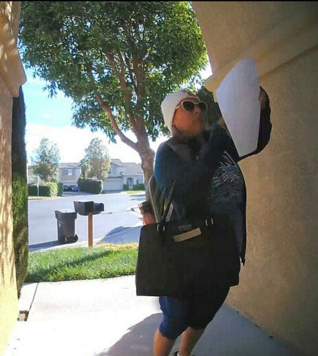 52 yr-old Nancy Arechiga puts racist flyers on the door of a San Leandro resident, telling them to 'go back to their country.'