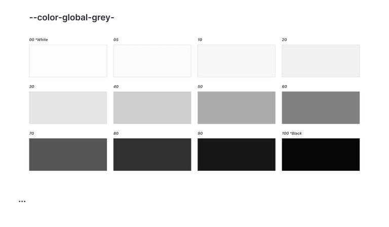 Three rows of grey swatches