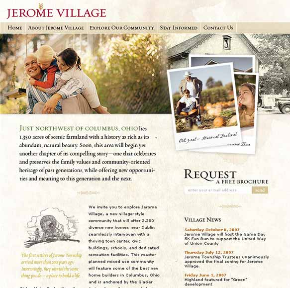 Jerome Village website screenshot