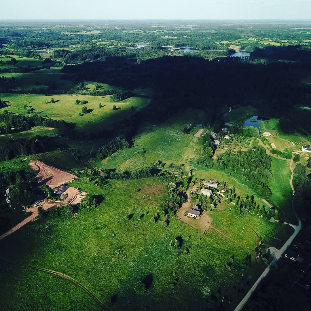 aerial photo of Latvian landscape