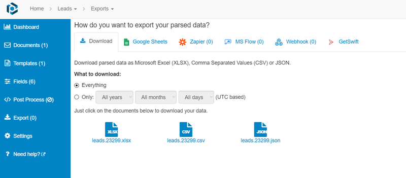 Download parsed data to Excel automatically