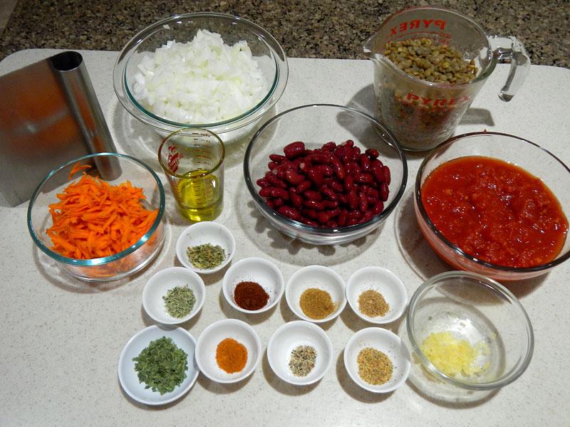 Setup for Vegan Red Chili