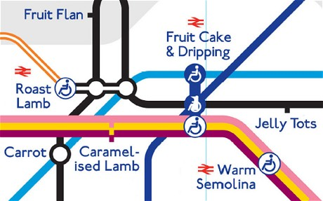 """Detail of five stops, including """"roast lamb, warm semolina, fruit cake & dripping, and carrot"""