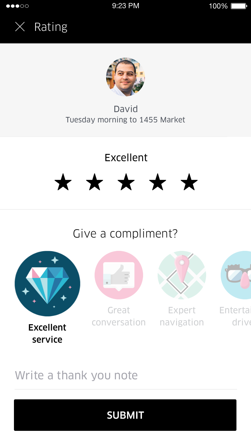 Product feedback example from Uber