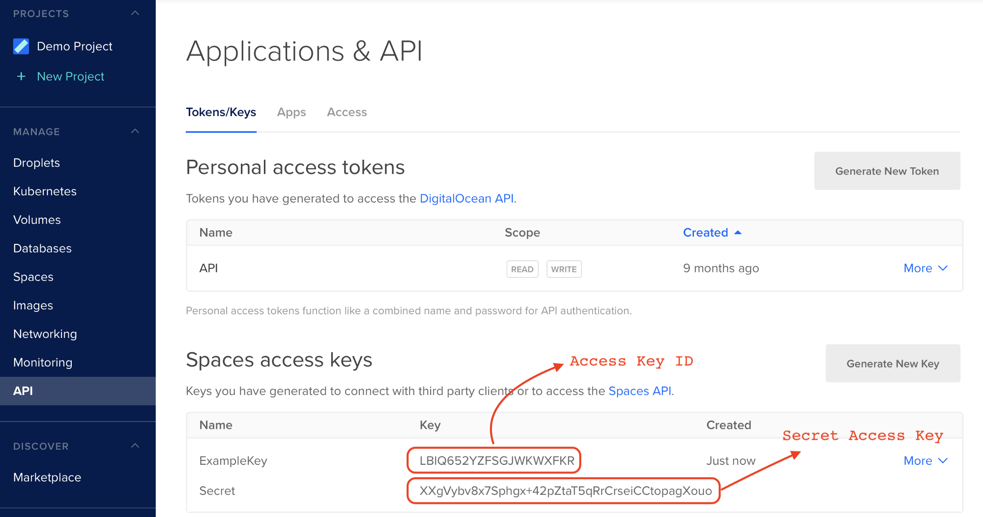 Step 3 - DigitalOcean Spaces Credentials