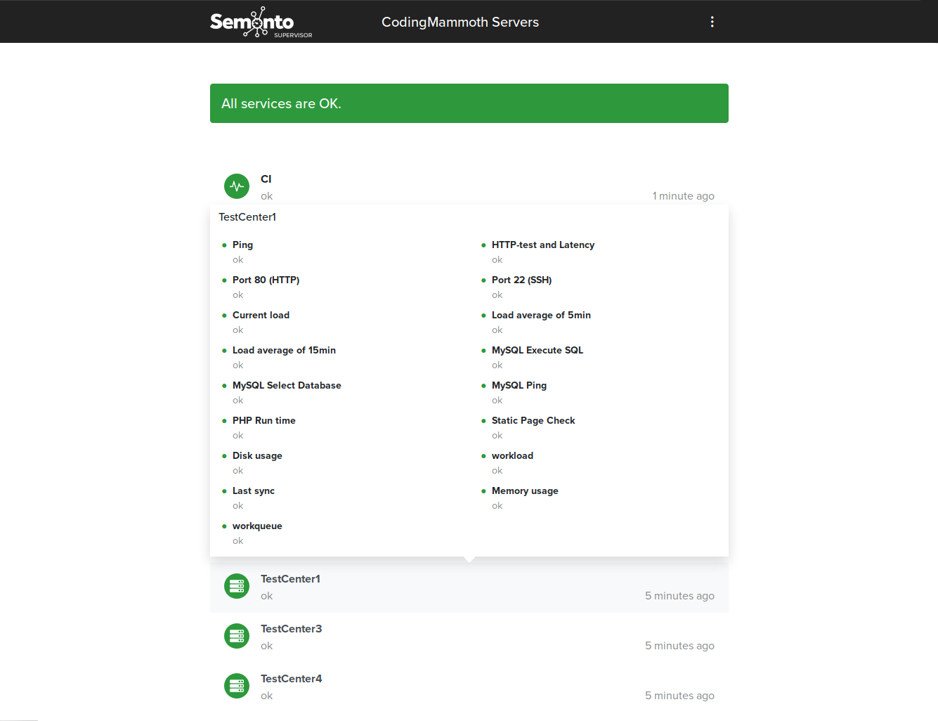 A screenshot of a status page made with Semonto Supervisor