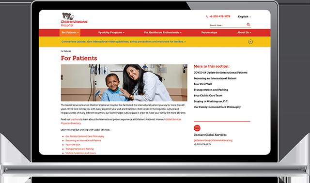 Screenshot of Childrens National Website in Mutliple Displays