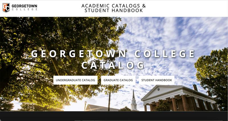 Georgetown's custom designed landing page