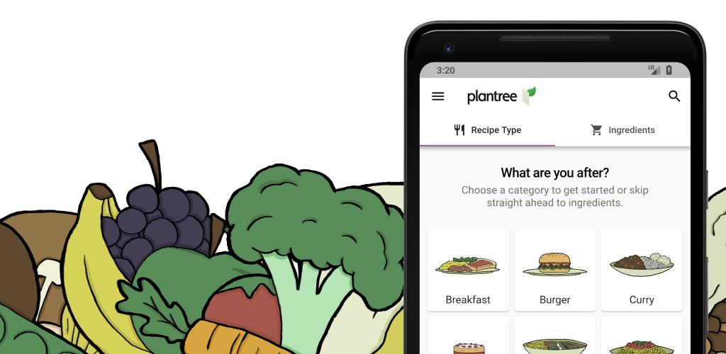 Promotional image for Plantree, some cute cartoon vegetable drawings and a Pixel 2 XL