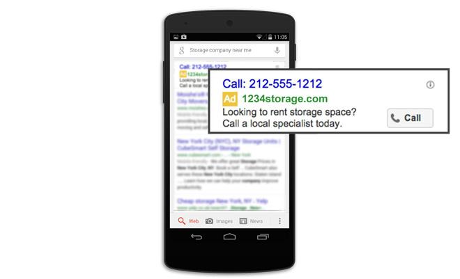 Google Adwords biedt speciale Alleen bellen-advertenties.