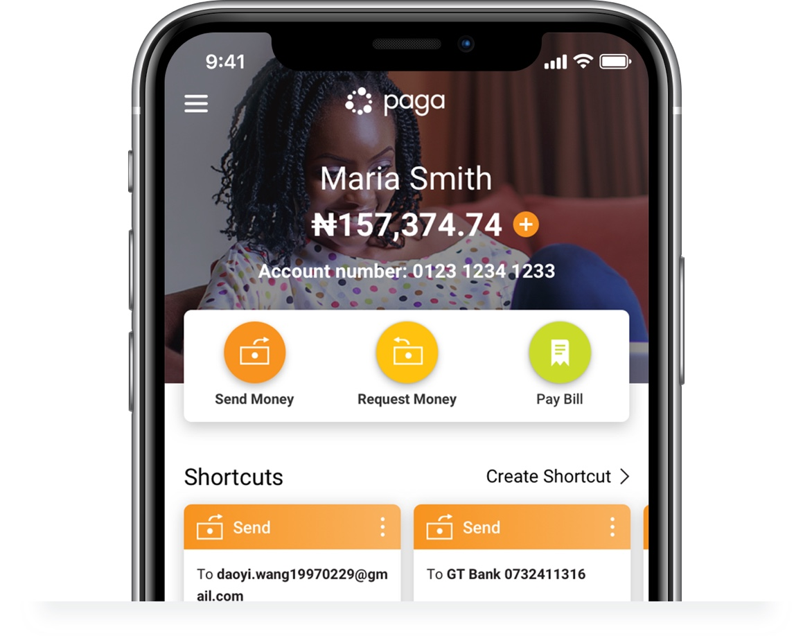 Close up screenshot of Paga mobile app user dashboard