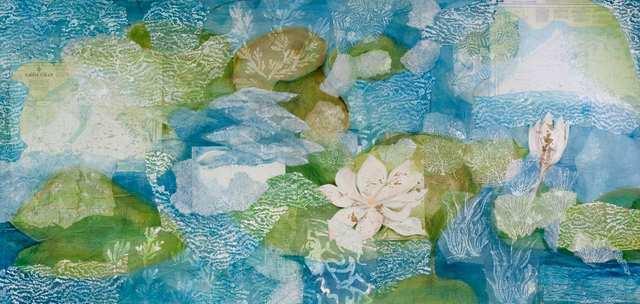 Lotus 1, acrylic marine-charts collage on canvas