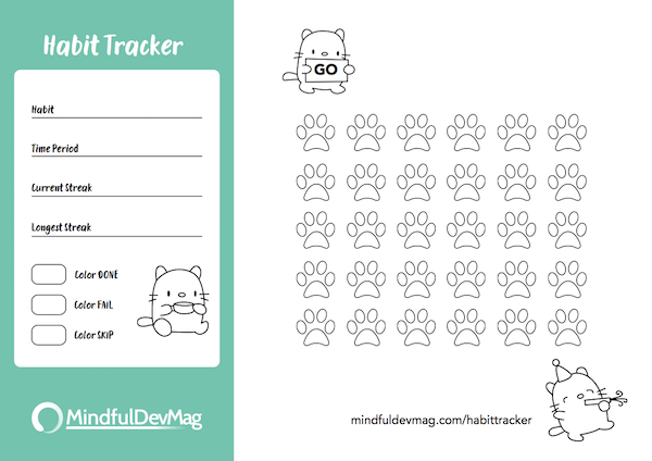 printable habit tracker cat design colored version