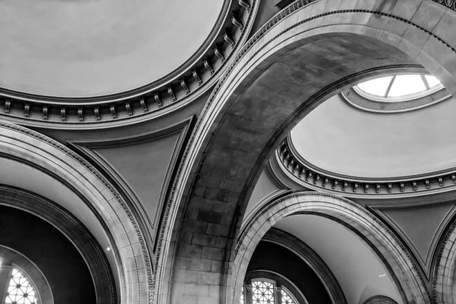 A close-up of the arches and domes over The Great Hall of the Metropolitan Museum of Art in New York City.