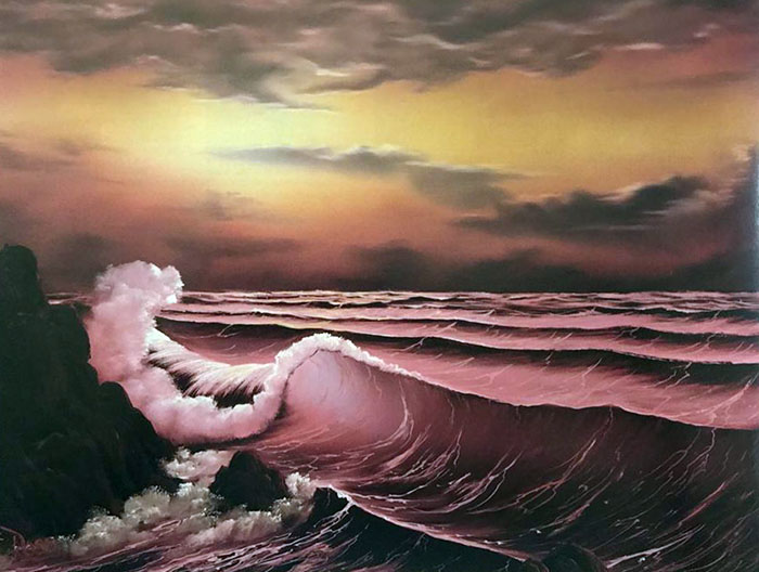 Sunset Over the Waves workshop preview painting
