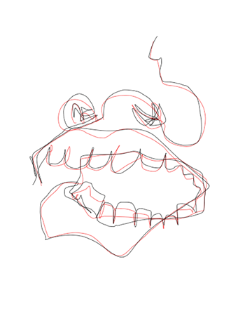 Blind contour of a mouth and nose