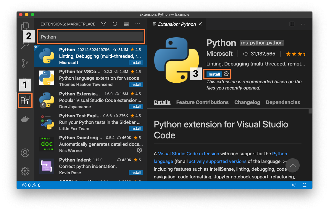 Installing the Python extension in Visual Studio Code.
