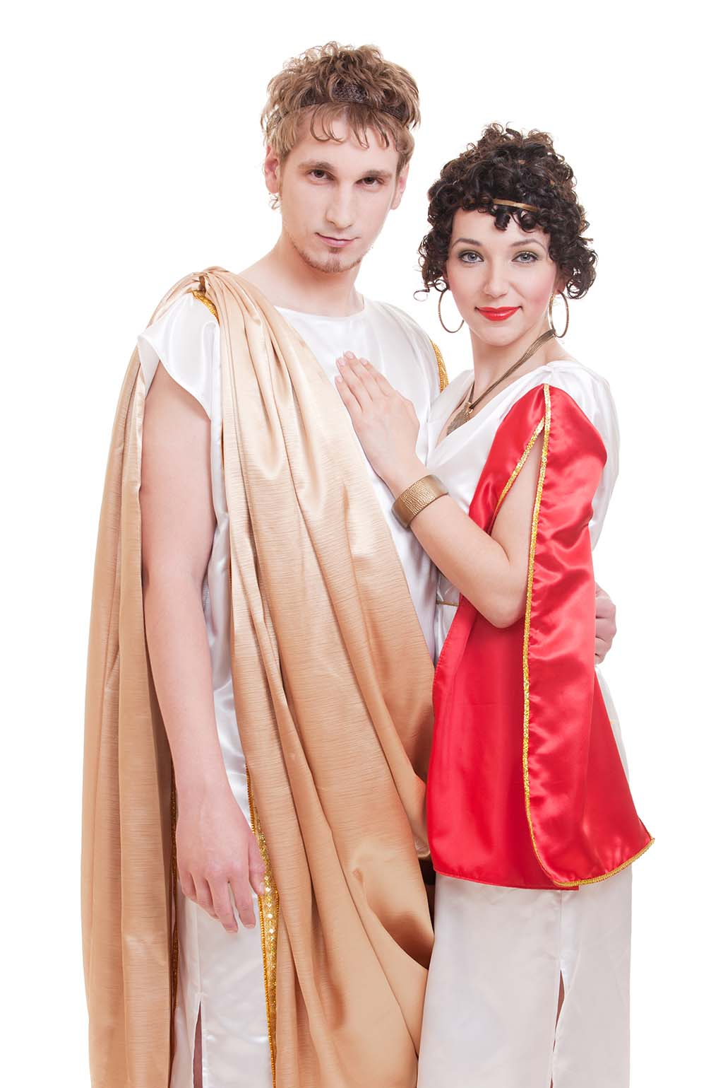 A couple dressed in old greek style