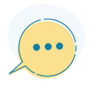 An icon of a speech bubble containing three dots to signify an incoming message.