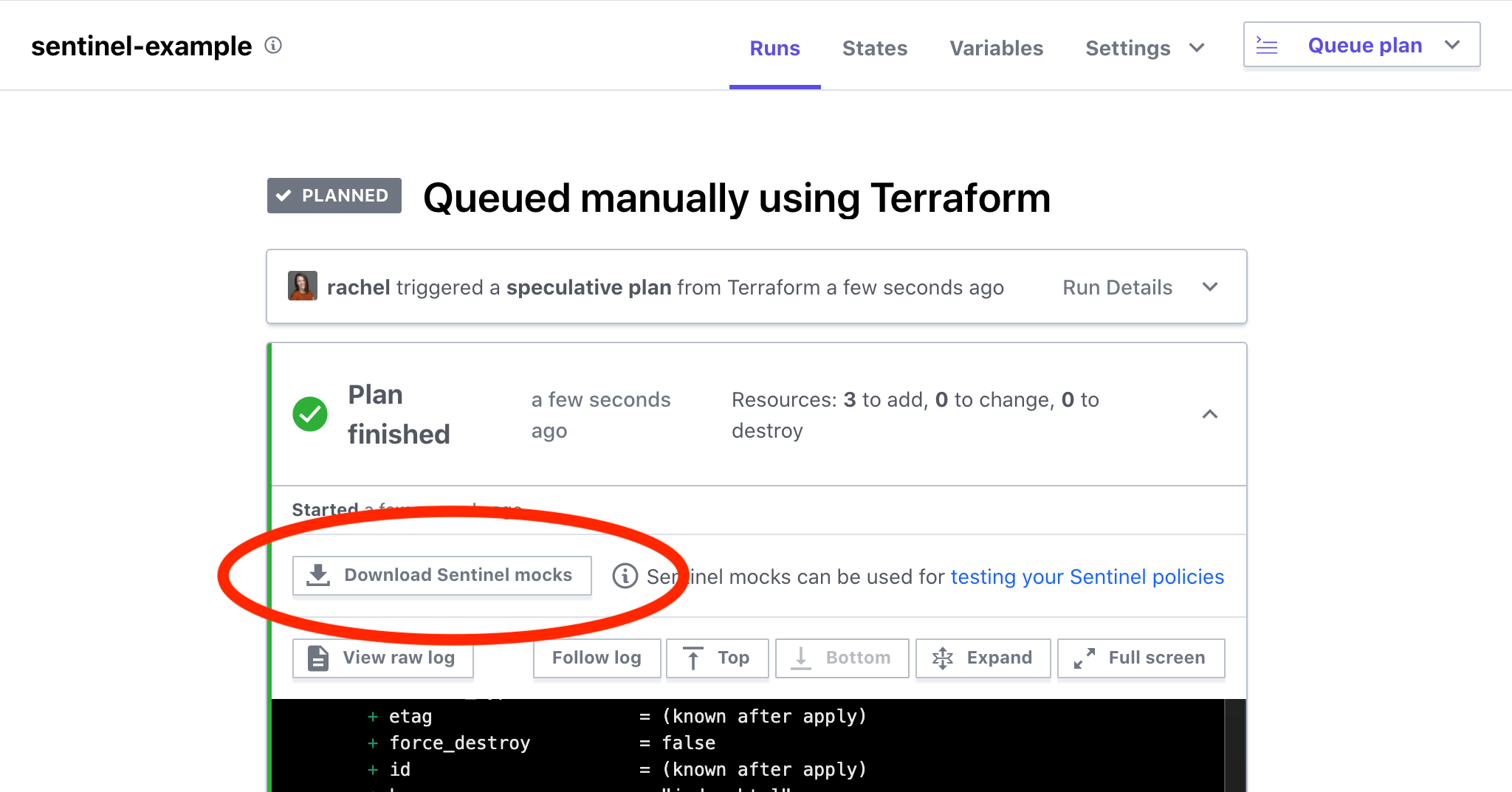 Download the mock data in the Terraform Cloud UI from the run tab