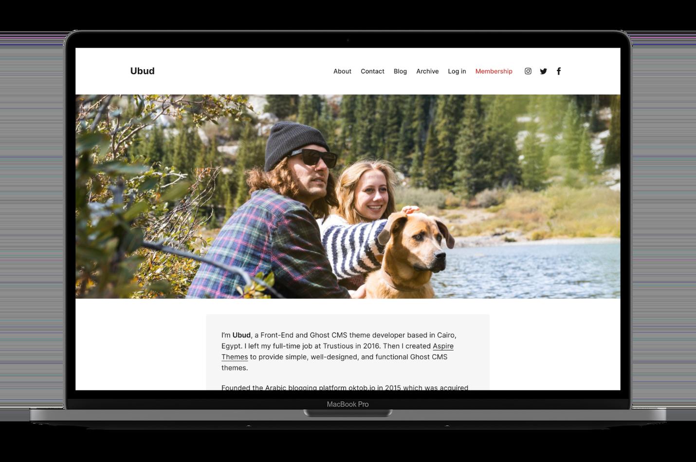 Ubud Ghost CMS Theme Homepage Image Full