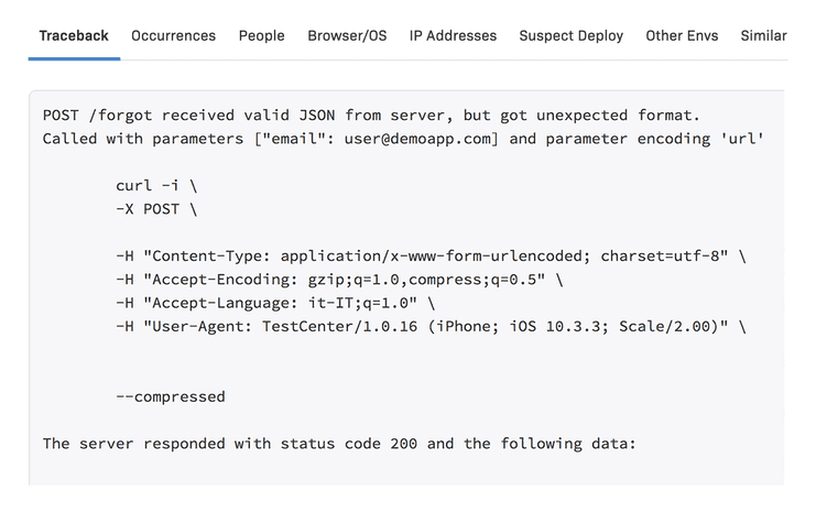 iOS Error details & metadata