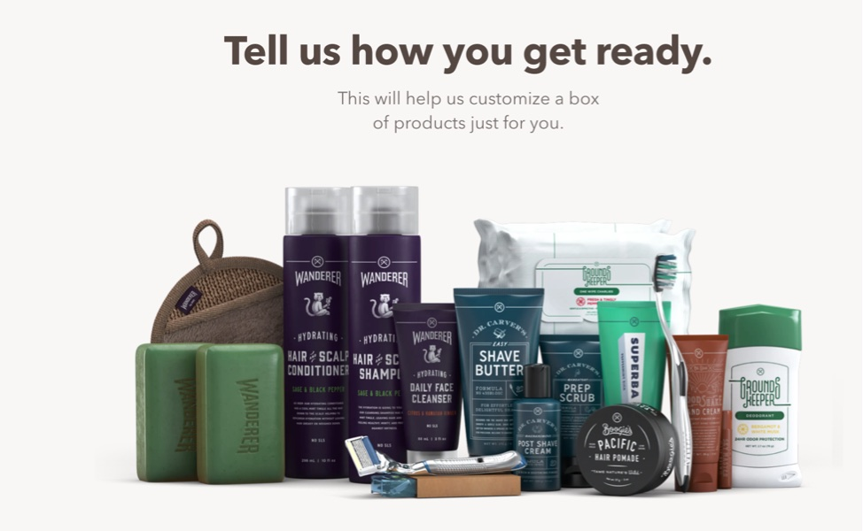 "Dollar shave image of shaving products with text: ""Tell us how you get ready. This will help us customize a box of products just for you."""