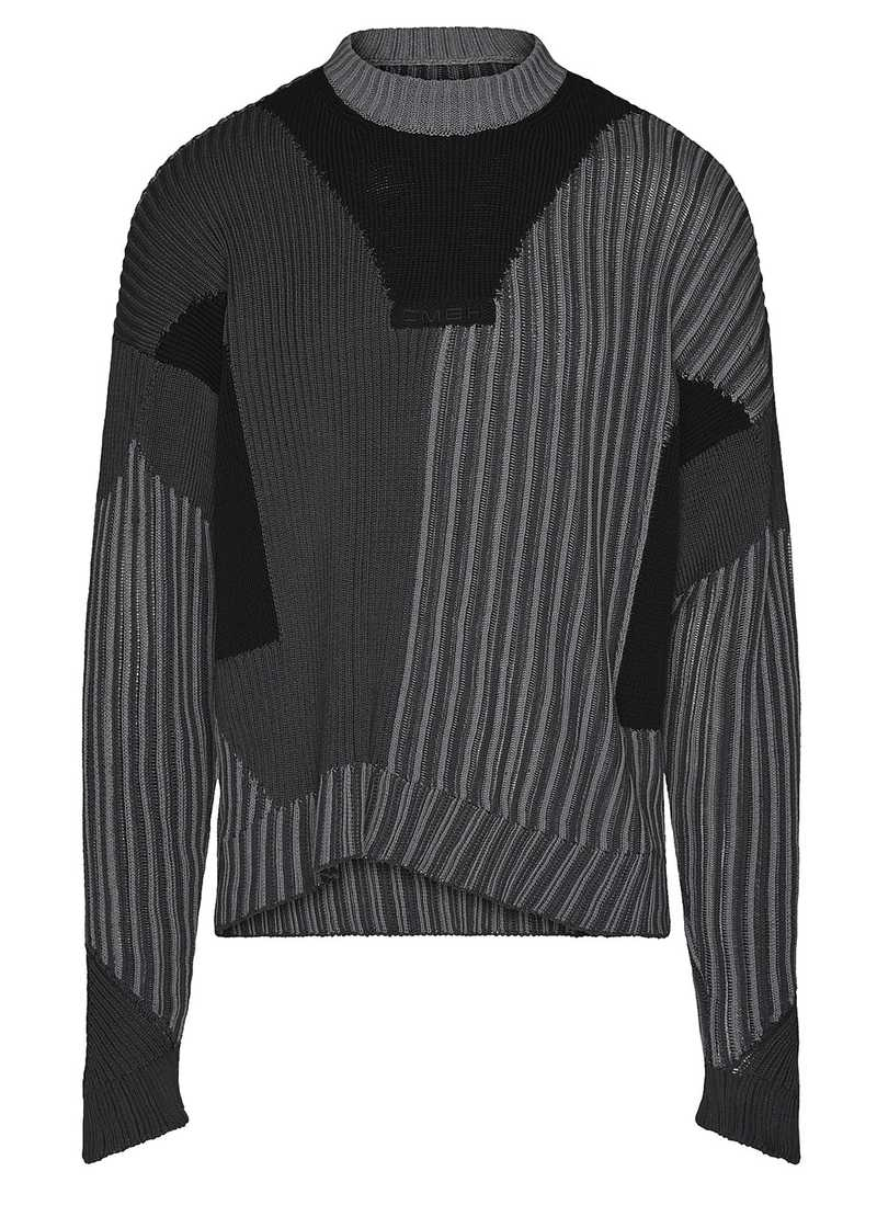 MIES knit jumper in black/grey. Gmbh Spring/Summer 2021 'RITUALS OF RESISTANCE'