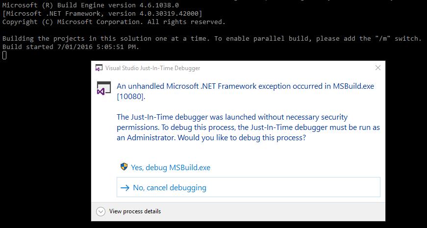 Attach debugger to MSBuild