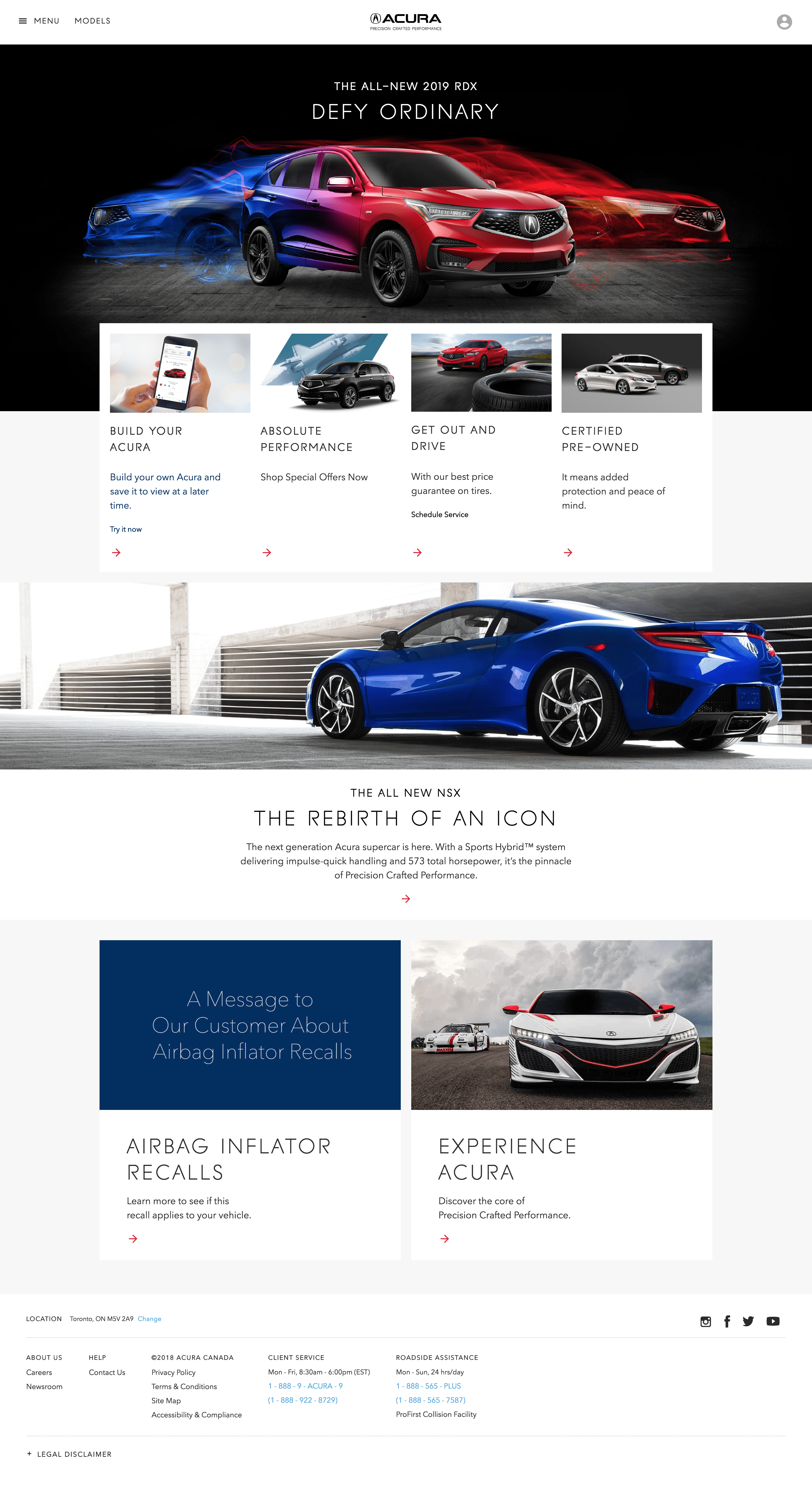 Screen capture of the Acura Canada homepage
