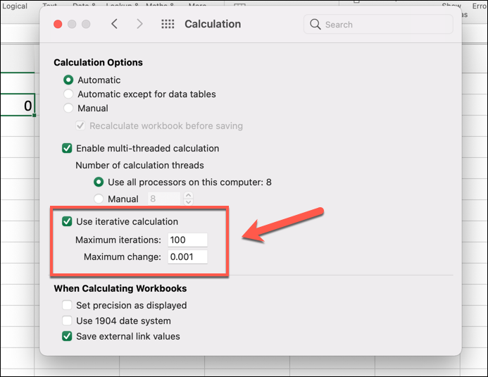 """A pop-up window shown after clicking """"Excel, preferences, calculation"""" when using Excel on a Mac computer. The """"Use iterative calculation"""" option has been selected, and maximum iteration and maximum change values entered, as annotated by a red arrow."""