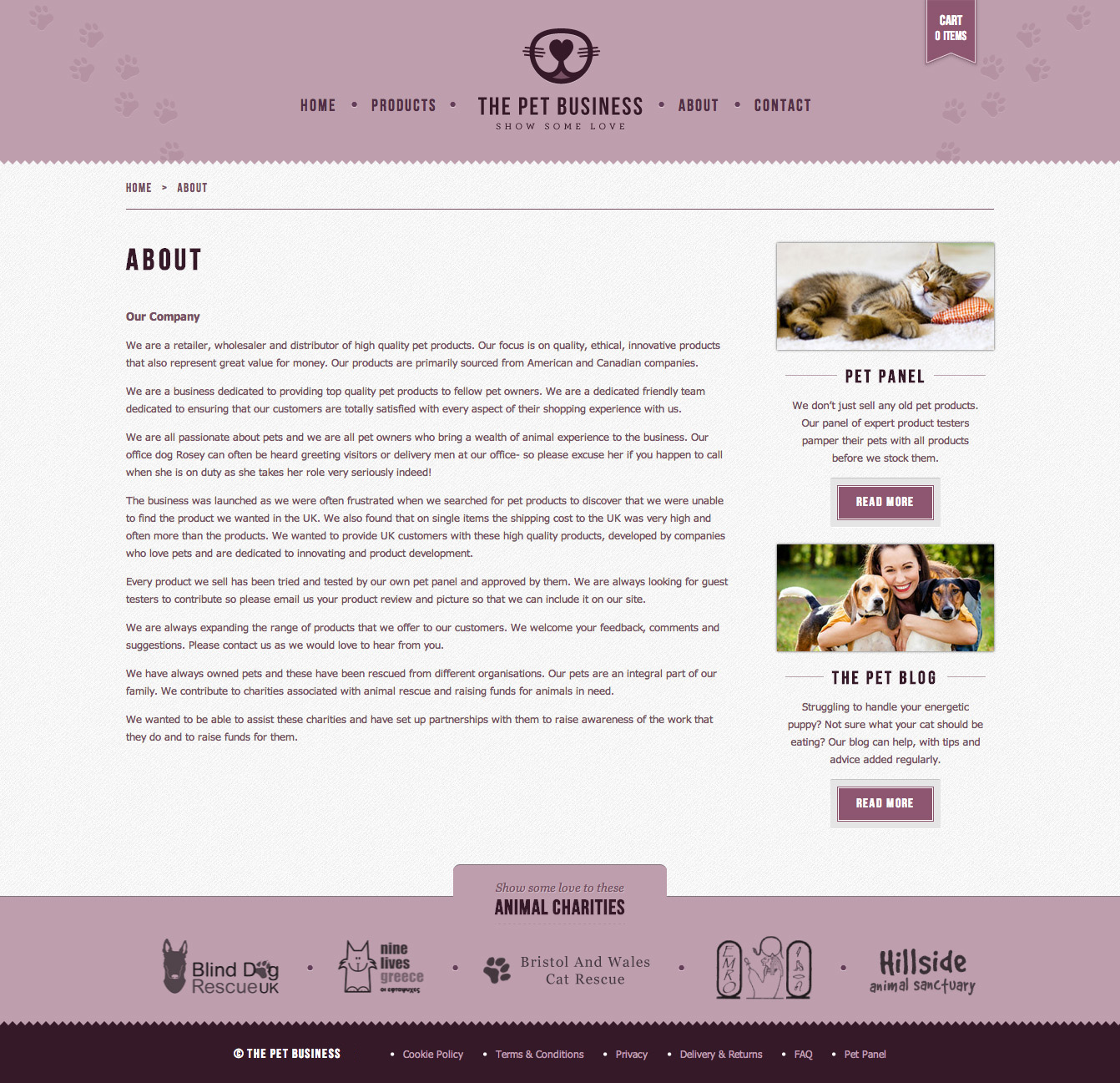 The Pet Business about page.