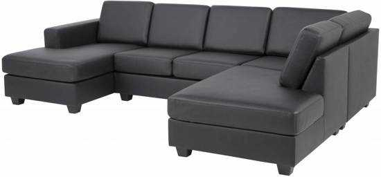 Fyn Wise Hoekbank Uvorm Met Chaise Longue Links Bonded Leather Zwart 9200000084055153