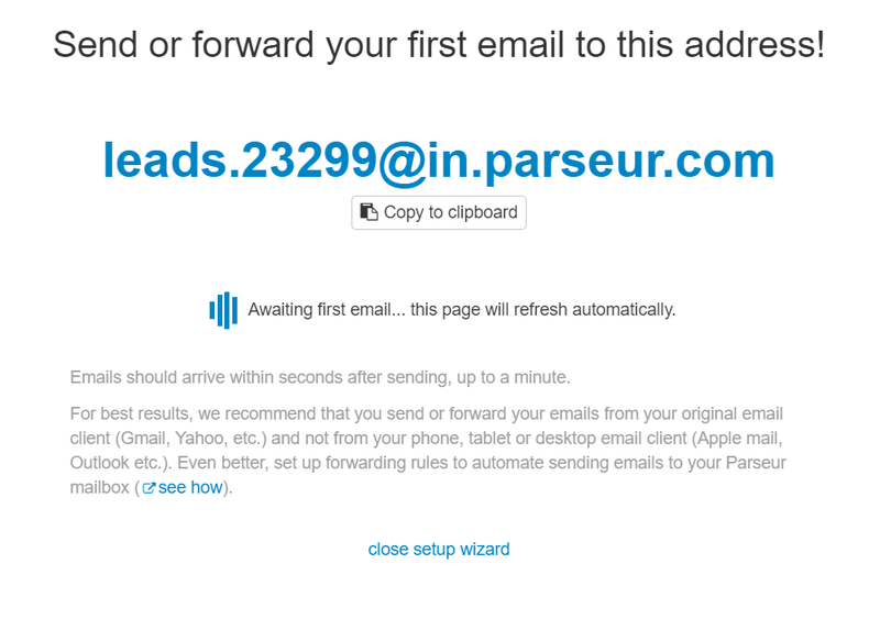 Forward your email to your Parseur mailbox