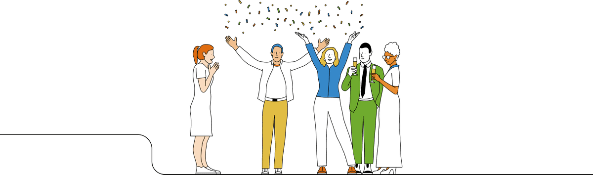 Illustration of people celebrating, throwing confetti in the air.