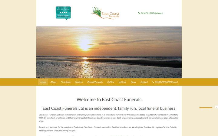 East Coast Funerals website frontpage