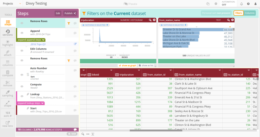 A sample Paxata user interface.