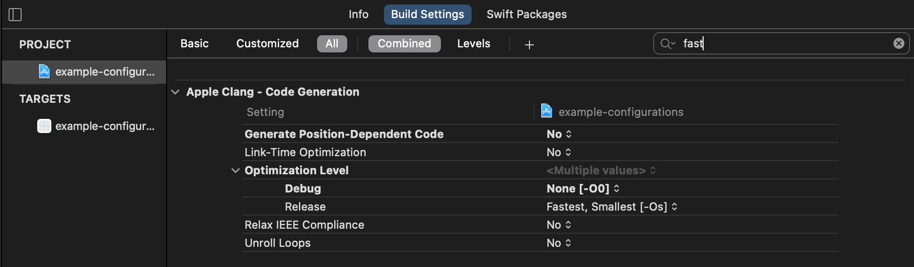 You can specify different build settings for each build configuration.