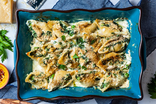 Creamy Stuffed Shells With Tuna and Spinach