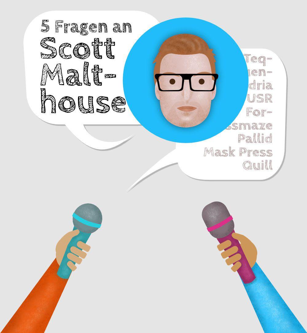 Stilisiertes Porträt von Scott Malthouse umgeben von Mikrofonen