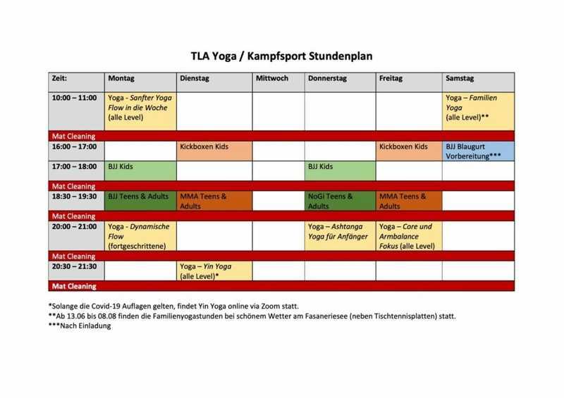 Der neue Stundenplan für Kampfsport und Yoga ab dem 8.6.20