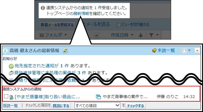 連携システムからの通知を確認している画像