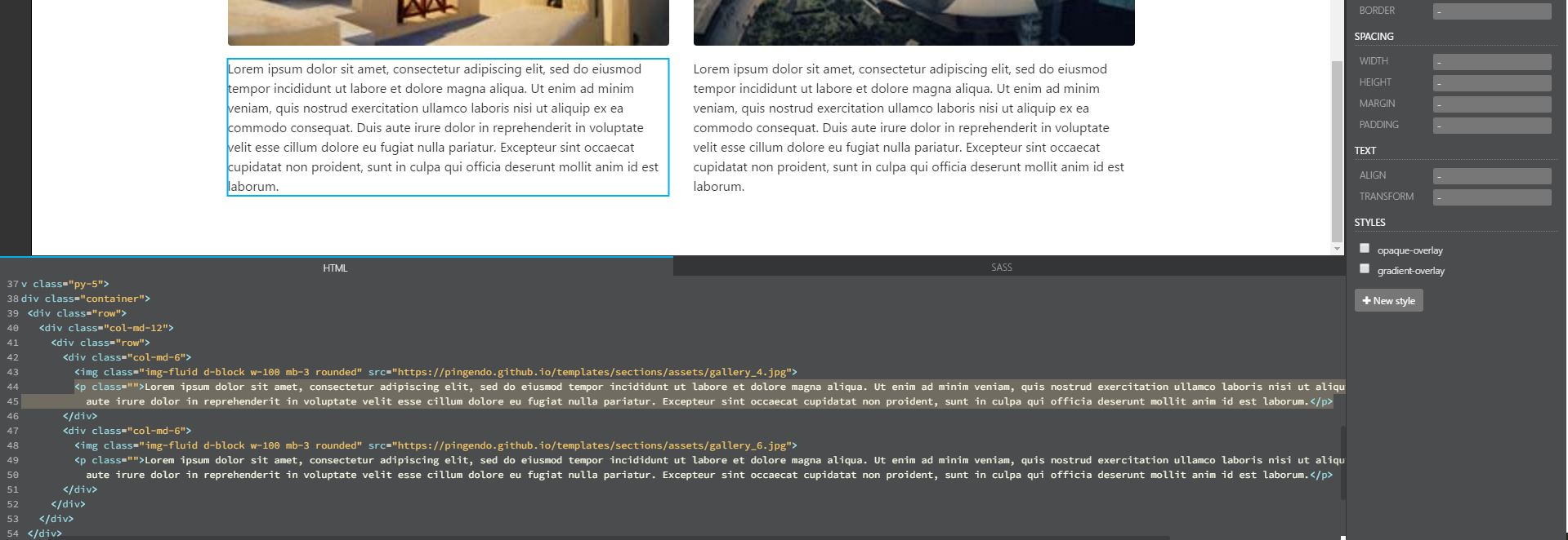 Pingendo live code editor