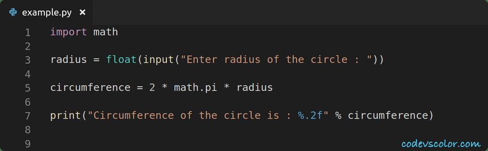python find circumference circle