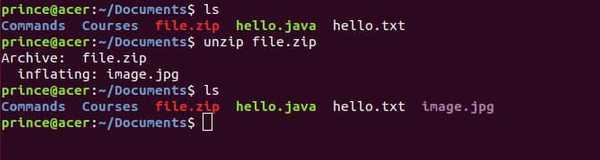 unzip linux command example