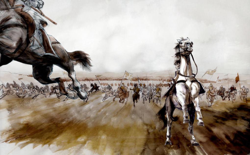 Cavalry charge at Aljubarrota battle