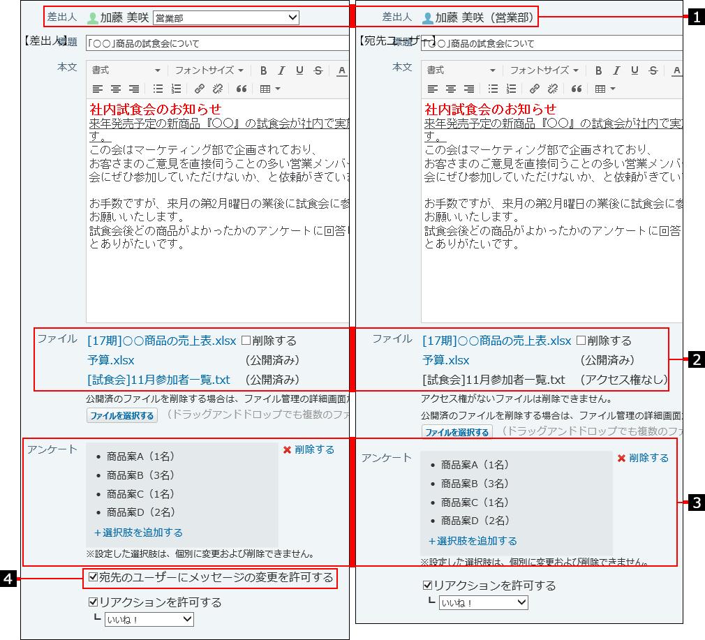 差出人と宛先ユーザーで表示が異なることを示した番号付き画像