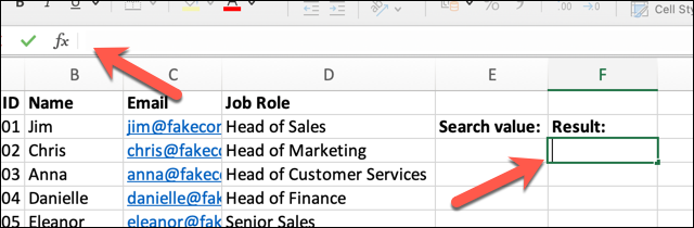 An Excel spreadsheet containing four columns of data: Employee Name, ID, Email Address, and Job Role. An empty cell has been highlighted and the formula ribbon bar selected