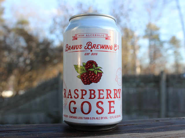 Raspberry Gose, a Near Beer (NA) brewed by Bravus Brewing Company