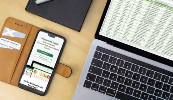 Laptop mit Excel und Smartphone mit App zur Eingabe von Daten